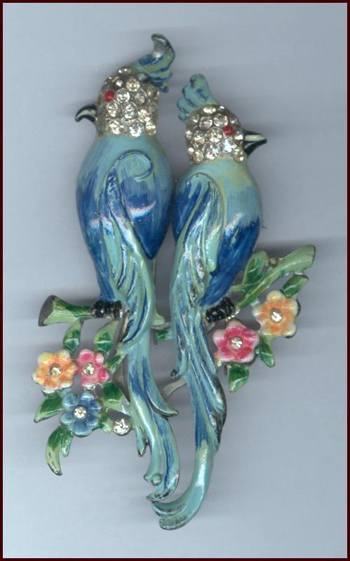 Beautifully Enameled Coro Bird Duette Fur Clips / Pin