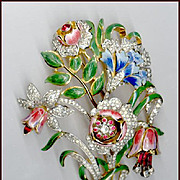 Spectacular Early Coro Floral Bouquet Trembler Brooch / Pin