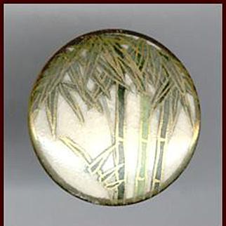Lovely Satsuma Porcelain Earrings Bamboo Pattern Screw Backs