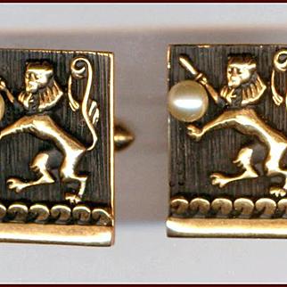 Elegant SWANK Gold & Black Rampant Lion with Faux Pearl Cufflinks