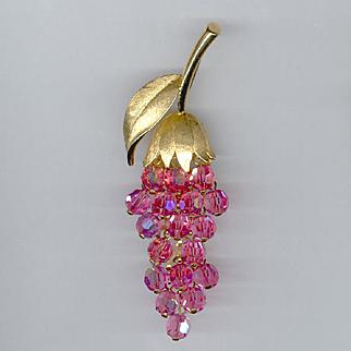 Trifari Pink Crystal Wisteria Pin