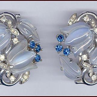 Trifari Molded Glass Tulip Clip Back Earrings