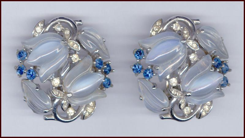 Trifari Molded Glass Tulip Clip Back Earrings