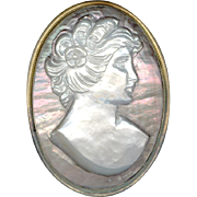 Lovely Two Tone Iridescent Mother of Pearl Handcarved Cameo Pin