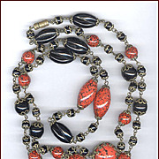 Gorgeous Vintage Black & Orange Art Glass Bead Necklace