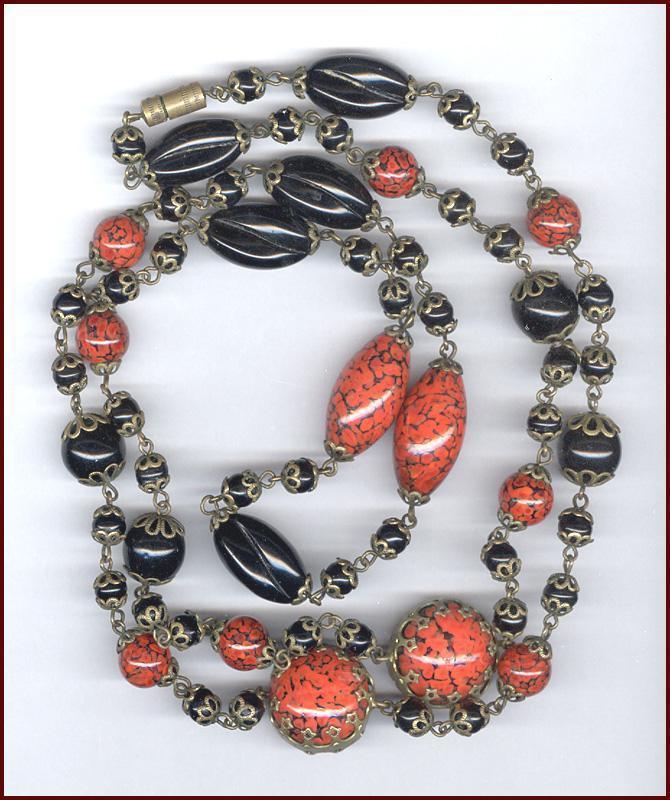 Gorgeous Vintage Black & Orange Art Glass Bead Necklace