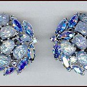 Trifari Etoile Collection Blue Iridescent Lava Rock Earrings