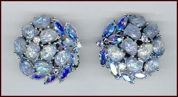 Trifari Etoile Collection Blue Iridescent Lava Rock Earrings
