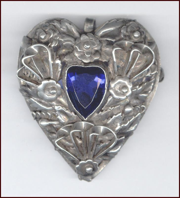 Hobe Sterling Heart Pin / Pendant Intricate Layered Design Heart Shaped Blue Rhinestone