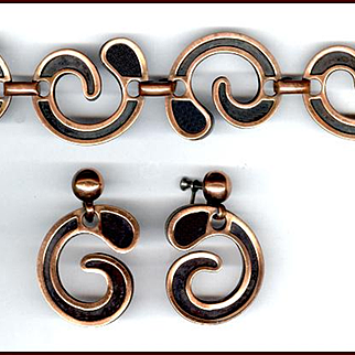 Modernist REBAJES Copper Bracelet & Screw Back Earrings Set