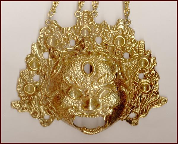HUGE Rare Goldette N.Y. Siamese Mask Pendant Necklace