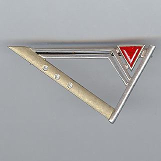 Cool MODERNIST Sterling Silver Triangle Pin with Triangular Stone
