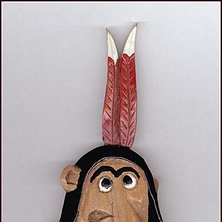 RARE Vintage Stanford Indians Mascot Wood Pin