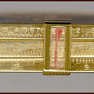 Novelty Gold Tone Miniature Movable Slide Rule Tie Clip