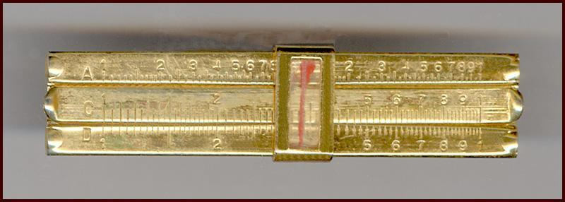 Novelty Gold Tone Miniature Movable Slide Rule Tie Clip