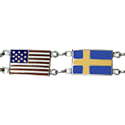 Colorful Enamel on Sterling Silver Swedish & US Flags Bracelet