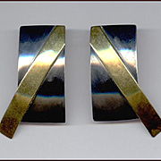 Sleek Modernist Oxidized Sterling Silver & Brass Earrings