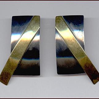 Sleek Modernist Oxidized Sterling Silver & Brass Earrings