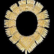 MONET Etruscan Revival Gold Tone Bib Necklace