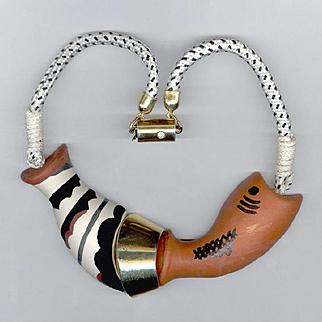 Rare Ugo Correani Italy Ceramic Fish Necklace 1980's