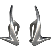 Designer Signed Sleek Modernist Sterling Silver Earrings P. Warmind Denmark
