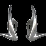 Designer Signed Sleek Modernist Sterling Silver Earrings P. Warmind Denmark