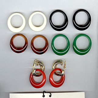 Trifari Multi-Color Convertible Clip Back Earrings Set