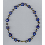 Exquisite Murano Italian Sommerso Glass Bead Necklace Cobalt Blue & Aventurine