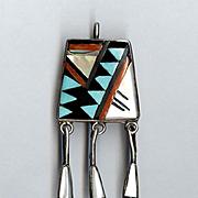 John & Rosalie Bowannie ZUNI Silversmiths Colorful Inlaid Silver Pendant