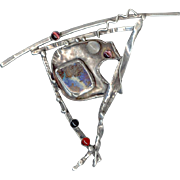 Fabulous MODERNIST Sterling Silver Multi-Stones Pin