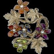 SWOBODA Semi-Precious Stone & Pearl Flowering Branch Pin