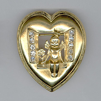 Charming Trifari Heart Shaped Pin with Cherub in Open Window