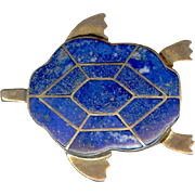 Finely Crafted Vermeil Sterling Silver Turtle Pin/Pendant with Lapis Inlay