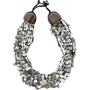 MONIES Multi-Strand Mother of Pearl Chip Necklace