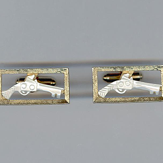 Cool Handcarved Mother of Pearl Pistol Cufflinks