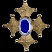 Vans Authentics Stylized Cross Pin / Pendant with Royal Blue Beveled Cabochon Stone