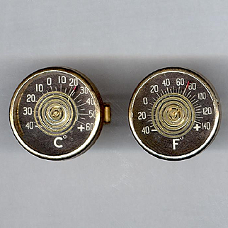 Novelty Working Thermometer Cufflinks Fahrenheit & Centigrade