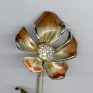 Beautifully Enameled BSK Flower Pin Aurora Borealis Rhinestones