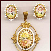 MIRIAM HASKELL Floral Porcelain Cabochon Pendant & Earrings Set