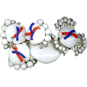 RARE Miriam Haskell Red White & Blue Glass Bead Pin