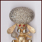 Amusing Big Head Bouffant Afro Hairdo Poodle Pin