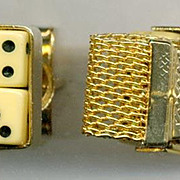 Novelty DICE / Gold Tone Mesh Cufflinks