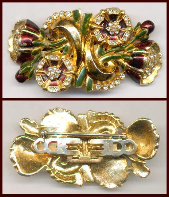 Early Coro Floral Duette Clips / Pin