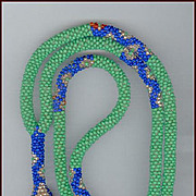Lovely Vintage Green & Blue Glass Flapper Beads Sautoir Necklace