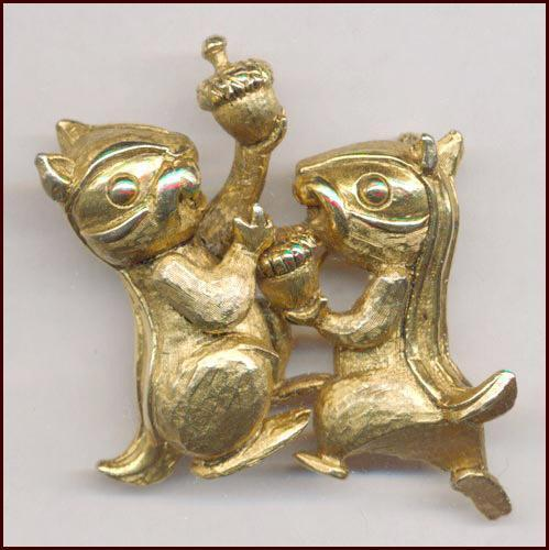 Amusing HATTIE CARNEGIE Gold Tone Chipmunks Pin