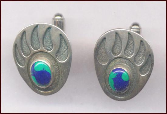 Signed Sterling Silver Bear Paw Cufflinks