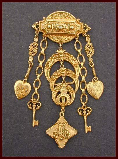 Ornate CORO Victorian Revival Dangly Chatelaine Style Pin