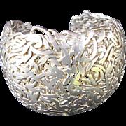 Massive 4 OZ Sterling Silver Signed Artisan Cuff Bracelet