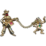 Jeweled Organ Grinder & Monkey Chatelaine Style Pins