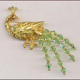Lovely KRAMER Crystal Tailed Peacock Pin MINT